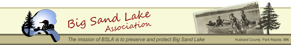 Big Sand Lake Association - Hubbard County, Park Rapids, MN - original logo design by Marcia Bergland